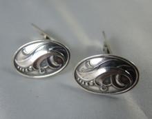 Art Nouveau Danish 830S Silver Lily Cufflinks Hansen & Andersen Denmark.