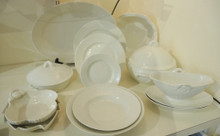 10 person 1940's Vintage Danish Bing & Grondahl Cream Elegance dinner set creamy white