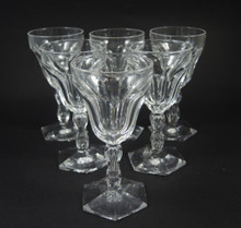 6 Antique Val St Lambert by Holmegaard Lalaing cut crystal fortified wine glasses