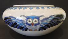Large Art Deco Crackle Ware L&V Ceram owl bowl
