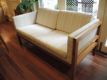 Vintage Danish 2 Seater Woollen and Hardwood Timber Frame Couch