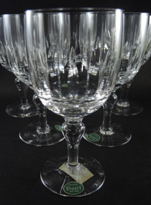 Six Vintage Stuart Crystal Hampshire Red Wine Goblets Glasses