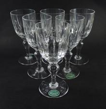 Six Vintage Stuart Crystal Hampshire Port Wine Goblets Glasses