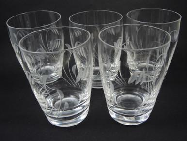 5 Vintage Stuart Crystal Elgin Large Barrel Tumblers Glasses