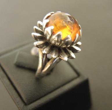 Vintage Australian Sterling Silver Amber Helichrysum Ring
