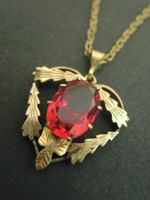 Antique Art Nouveau 9ct Gold Lined Red Stone Pendant on chain