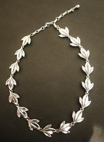Vintage Sterling Silver Danecraft Tri Leaf Necklace
