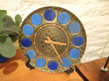 Mid Century Modern Brass, copper and ceramic wall clock by Junghans