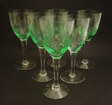 6 Vintage Holmegaard Else White Wine glasses Uranium Glow 1919