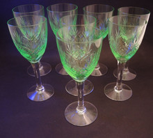8 Vintage Holmegaard Else White Wine glasses Uranium Glow 1919