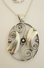 Art Deco Danish Solid Silver Hugo Grun Pendant
