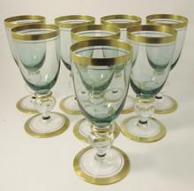 8 Vintage Holmegaard Gyldenholm Green White Wine glasses Per Lutkin 1949