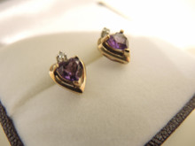 Vintage 9ct gold , diamond and heart shaped amethyst earrings