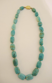 Vintage Amazonite individually knotted bead necklace Dansk Hollanske