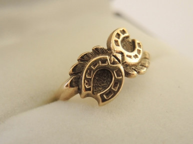 Vintage 9ct rose gold Double Good Luck Horseshoe ring