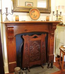 Australian Art Nouveau Blackwood Hand Carved Iris Bloom Fire Screen