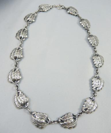 Vintage Sterling Silver Danecraft Double Leaf necklace