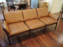 Vintage 1965 Danish Genius 3 Seat Sofa Illum Wikkelso in Leather & Mahogany