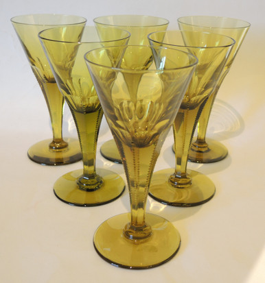 6 Antique Holmegaard Sicily cut crystal green white wine glasses 1916