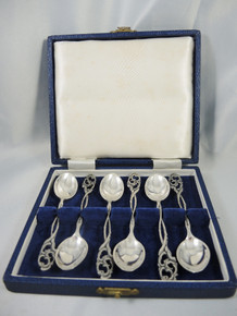 Art Deco Set of 6 Danish Mocha Spoons A. Gold Roskilde
