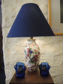 Antique Chintz Lamp with Blue Shade
