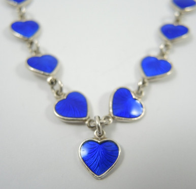 Vintage Danish Sterling Silver Enamel Hearts Necklace Volmer Bahner