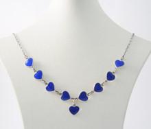 Vintage Danish Sterling Silver Enamel Hearts Necklace Volmer Bahner