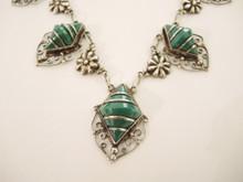 Art Deco Vintage Sterling Silver Mexican Jade necklace