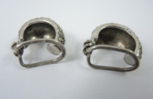 Vintage Sterling Silver Marcasite Hoop Clip on Earrings