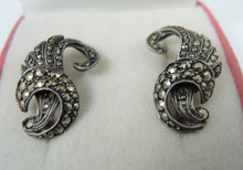 Art Deco Sterling Silver Marcasite Clip on Earrings