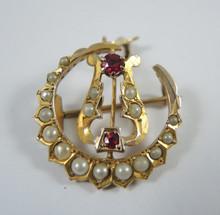 Antique Australian 9ct Gold Seed Pearl Lyre Pendant - Aronsen Melbourne