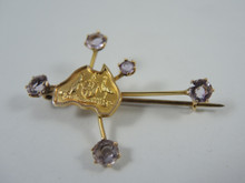 Antique Australian 9ct Amethyst Southern Cross Brooch Simonsen Co Ltd