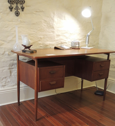 Vintage Danish Teak Desk with 4 drawers & bookshelf back