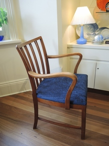 Vintage Danish Beech Spindle Back Armchair New Upholstery