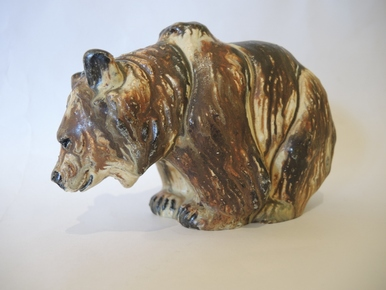 Vintage Danish Art Pottery Arne Ingdam Own Studio Unika Great Bear  Figure