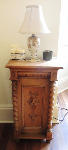 Vintage Danish French Oak Hand Carved Cupboard with fruit