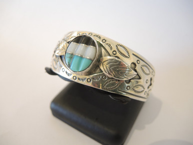 Vintage Sterling Silver Turquoise Native American Cuff Bangle