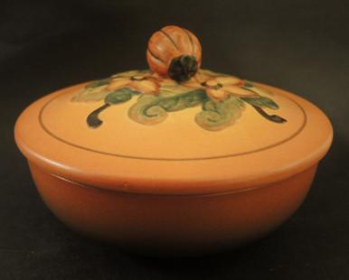 Art Deco Vintage Danish Art Pottery Ipsens Pumpkin bowl and lid