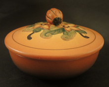 Art Deco Vintage Danish Art Pottery Ipsens Pumpkin bowl and lid
