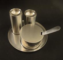 Danish Stelton Stainless Steel Cylinda-Line Cruet Set.