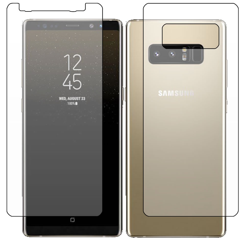 Galaxy Note 8 Screen Protector - Military Shield - Full body outline