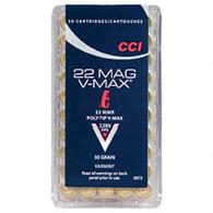 Ammo .22 Magnum CCI Poly-Tip V-Max Varmint 30 Grain 2200 fps 50 Round Box