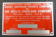 Engine Identification Tag 1920 and up Willys-Knight