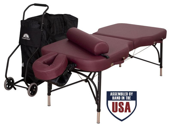 Oakworks Advanta Professional Massage Table Package- with carry case, platform, crescent, bolster and arm hammock and table cart