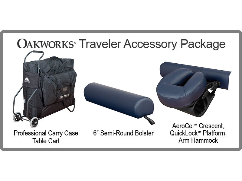 Oakworks Wellspring Traveler Package with Carry Case, Face Rest Platform, Face Rest Crescent, Bolster, Arm Hammock and Table Cart