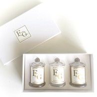 Gift Box of 3 scented 15hr soy candles
