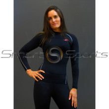 Take 5 Womens Compression Long Sleeve Black Top | Spandex Shirt