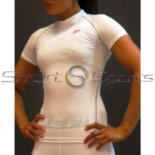 Take 5 Womens Compression Short Sleeve White Top | Spandex Gym Shirt
