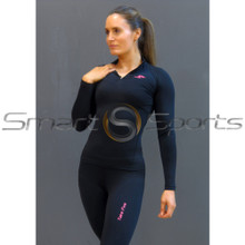 Take 5 Womens Thermals Compression Long Sleeve Winter Zip Top Black