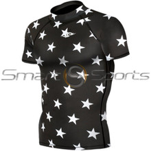 Take 5 Inexpensive Mens Short Sleeve Compression Top Black Star